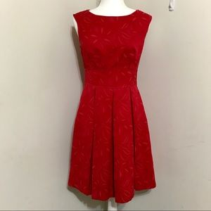 Adrianna Papell Box Pleat Open Back Red Dress Sz 6